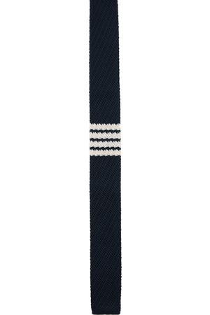 Thom Browne Homme Cravates - Cravate bleu marine en maille de soie à 4 rayures