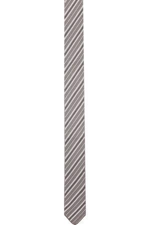 Thom Browne Cravate grise et blanche de soie à rayures en maille jacquard
