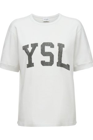 Saint Laurent Sweat-shirt En Coton À Manches Courtes
