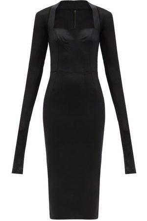 Dolce & Gabbana Femme Robes midi - Robe midi en crêpe et résille à encolure carrée