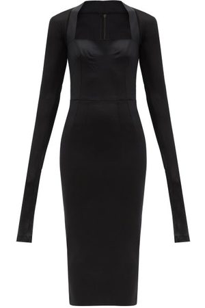 Dolce & Gabbana Robe midi en crêpe et résille à encolure carrée