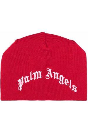 Palm Angels Kids CLASSIC LOGO BEANIE RED WHITE
