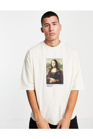 ASOS DESIGN T-shirt oversize à imprimé Mona Lisa - Taupe-Neutre