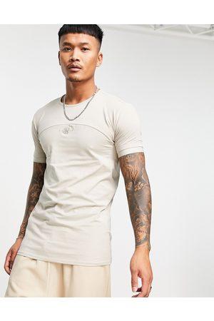 SikSilk T-shirt effet coupé-cousu - Beige-Neutre
