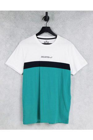 Hollister T-shirt color block avec logo centré - Blanc/noir/vert