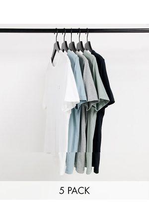 Abercrombie & Fitch Lot de 5 t-shirts à logo emblématique - Noir/gris chiné/blanc/ clair et vert