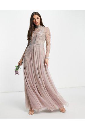 ASOS DESIGN Robe longue de demoiselle d'honneur avec corsage à perles nacrées et jupe en tulle