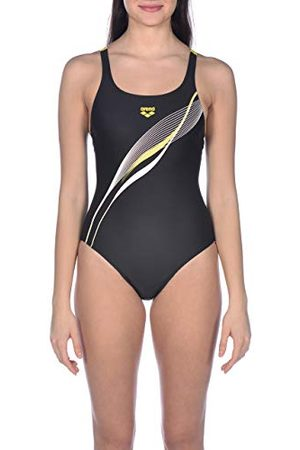 Arena W Harmonious v Back One Piece Maillot de bain Femme, Black/Yellow Star, FR : XS (Taille Fabricant : 36)