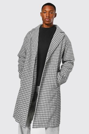 Boohooman Mini Grid Check Single Breasted Overcoat Homme