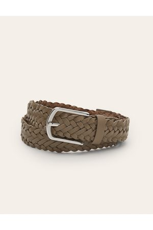 Boden Mode Leather Plaited Belt GRY Homme Boden