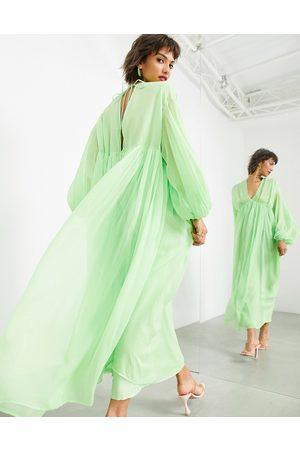 ASOS EDITION Femme Robes de soirée - Robe mi-longue avec cordon de serrage aux manches et col V - pomme