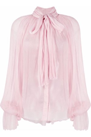 Atu Body Couture Pussy bow-collar linen blouse