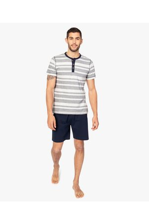 Gémo Homme Pyjamas - Pyjashort pour homme avec haut rayé et bas uni