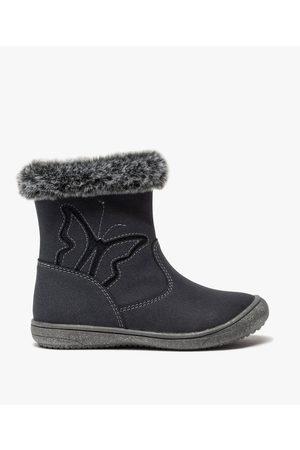 Gémo Boots fille zippés en suédine unie à col fourré