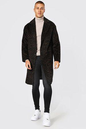 Boohoo Homme Manteaux longs - Manteau long droit à motif léopard Homme
