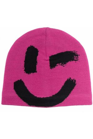 Molo Kids Smiley-print knitted beanie