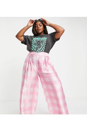 Twisted Wunder Pantalon d'ensemble large à carreaux oversize - Rose