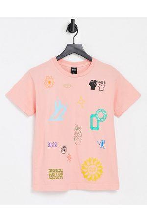 Obey T-shirt décontracté imprimé Love & Peace