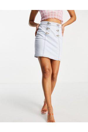 Morgan Mini-jupe en jean avec boutons dorés - clair