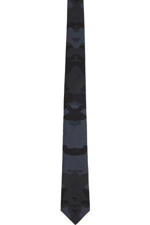 Burberry Cravate bleu marine en soie à motif camouflage en maille jacquard