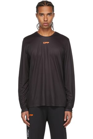 OFF-WHITE T-shirt à manches longues noir en filet à logo orange