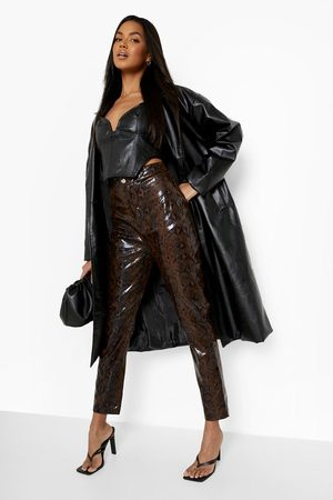 boohoo Femme Pantalons en cuir - Pantalon Skinny En Similicuir Effet Serpent