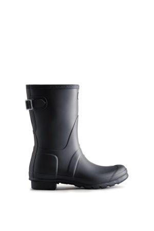 Hunter Boots Femme Bottes de pluie - Bottes Courtes Noires Réglables En Caoutchouc Original Pour Femme