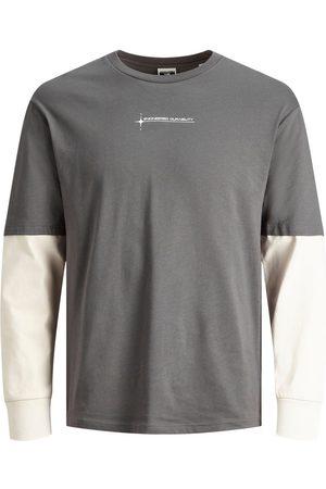 JACK & JONES Homme Manches longues - Deux Couche T-shirt À Manches Longues Men Brown; Grey