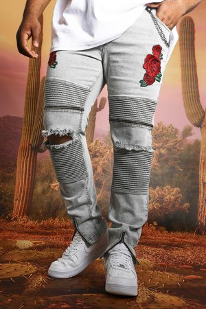 Boohooman Plus Size Skinny Stretch Floral Printed Jean Homme