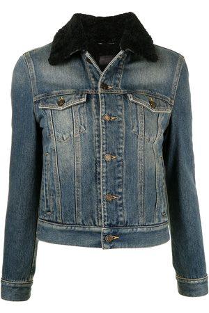 Saint Laurent Shearling-trim collar denim jacket