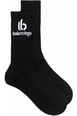 Balenciaga Homme Chaussettes & Bas - Logo-print ribbed socks