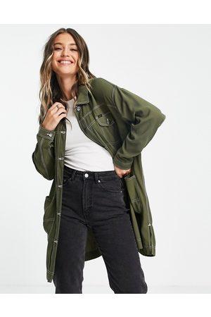 Lee Femme Manteaux longs - Lee - Manteau long en jean avec coutures contrastantes - olive