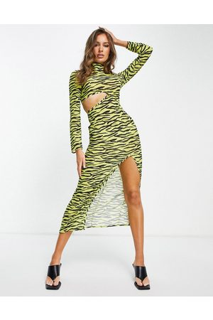 Unique 21 Unique 21 - Robe de plage longue à découpe en mousseline - imprimé zèbre