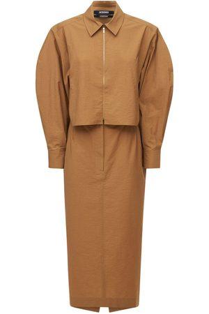 JACQUEMUS Robe Midi En Toile De Coton La Robe Uzco