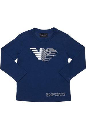 EMPORIO ARMANI T-shirt Manches Longues En Jersey De Coton À Logo