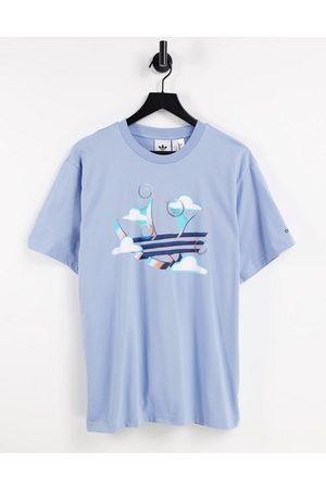 adidas Summer - T-shirt à motif trèfle - pâle