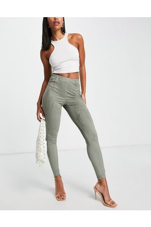 ASOS Pantalon skinny taille haute en imitation daim - Kaki