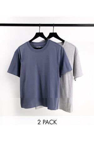 Weekday Lot de 2 t-shirts décontractés - Gris chiné et