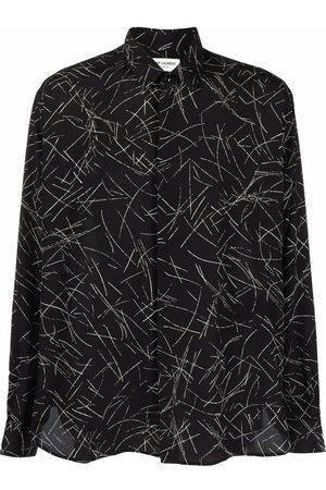 Saint Laurent Chemise en soie à imprimé graphique