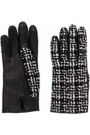 Saint Laurent Tweed-panel gloves
