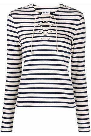 Saint Laurent Femme T-shirts - T-shirt rayé à détail de laçage