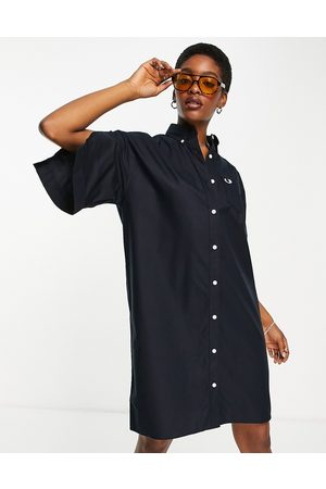 Fred Perry Robe chemise coupe carrée à manches fendues - marine