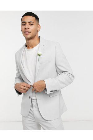 ASOS Mariage - Veste de costume ultra ajustée micro-texturée - glacé