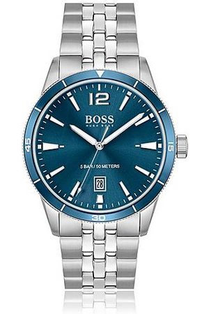 HUGO BOSS Homme Montres - Montre à cadran bleu et bracelet à cinq maillons