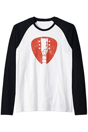 Old School Cool Music Clothes and Gifts Vintage Retro Electric Guitar and Pick or plectrum Manche Raglan