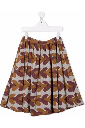 Bobo Choses Fille Jupes imprimées - All-over swallows-print midi skirt