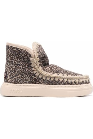 Mou Leopard-print shearling lined boots