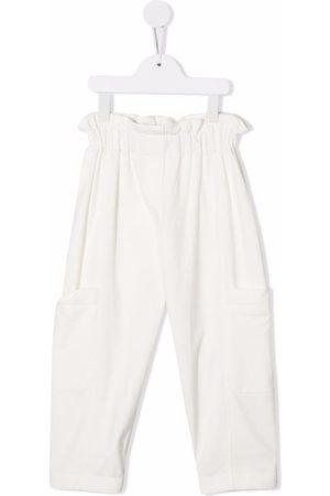 Brunello Cucinelli Fille Pantalons - Pantalon à taille haute froncée