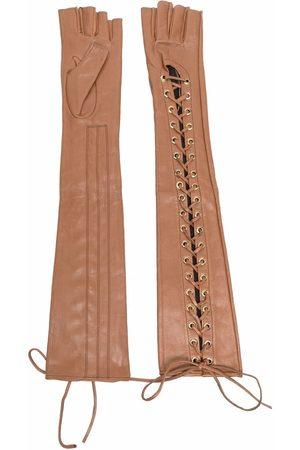 Manokhi Femme Gants - Gants en cuir à lacets