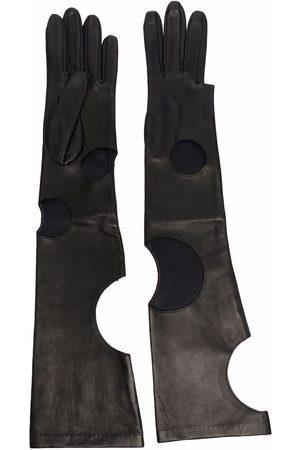 Manokhi Femme Gants - Gants en cuir à découpes